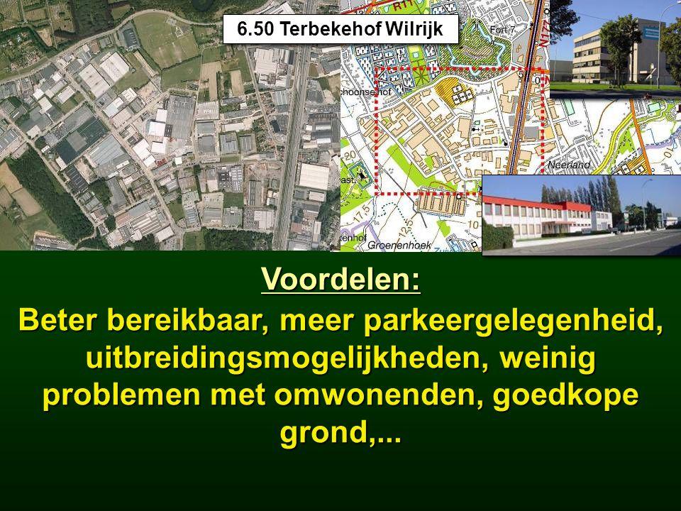 15.5 Industrieterreinen 6.50 Terbekehof Wilrijk Voordelen: Beter bereikbaar, meer parkeergelegenheid, uitbreidingsmogelijkheden, weinig problemen met