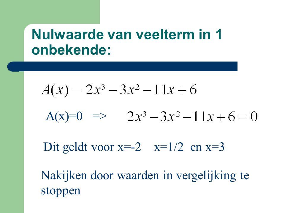 Nulwaarde van veelterm in 1 onbekende: A(x)=0 => Dit geldt voor x=-2 x=1/2 en x=3 Nakijken door waarden in vergelijking te stoppen