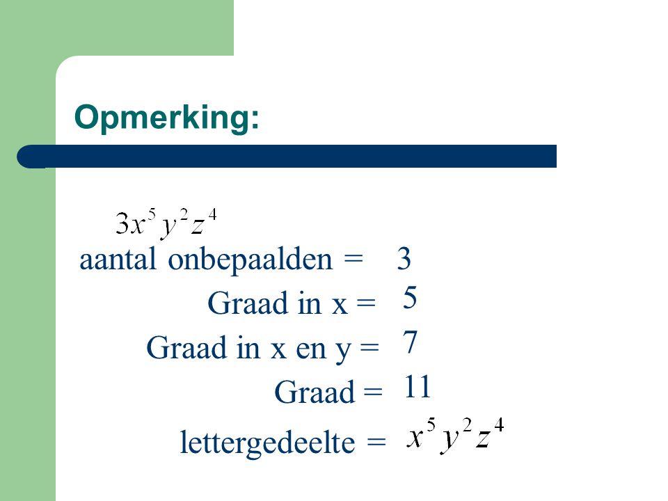 Opmerking: aantal onbepaalden = Graad in x = Graad in x en y = Graad = lettergedeelte = 3 5 7 11