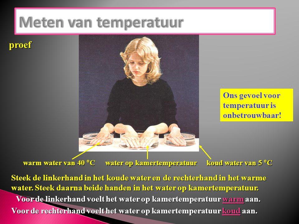 warm water van 40 °C koud water van 5 °C water op kamertemperatuur Steek de linkerhand in het koude water en de rechterhand in het warme water. Steek