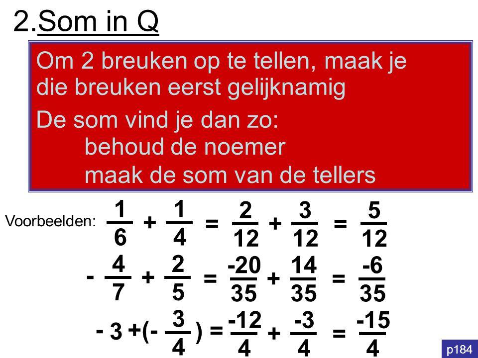 2.Som in Q Om 2 breuken op te tellen, maak je behoud de noemer maak de som van de tellers die breuken eerst gelijknamig De som vind je dan zo: 1616 +