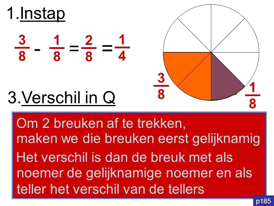 1.Instap 1818 3838 3838 1818 - = 2828 = 1414 3.Verschil in Q Om 2 breuken af te trekken, noemer de gelijknamige noemer en als teller het verschil van