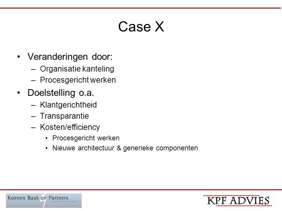 Case X Veranderingen door: –Organisatie kanteling –Procesgericht werken Doelstelling o.a.