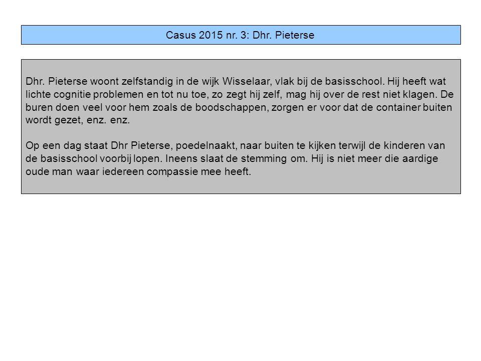 Casus 2015 nr. 3: Dhr. Pieterse Dhr. Pieterse woont zelfstandig in de wijk Wisselaar, vlak bij de basisschool. Hij heeft wat lichte cognitie problemen