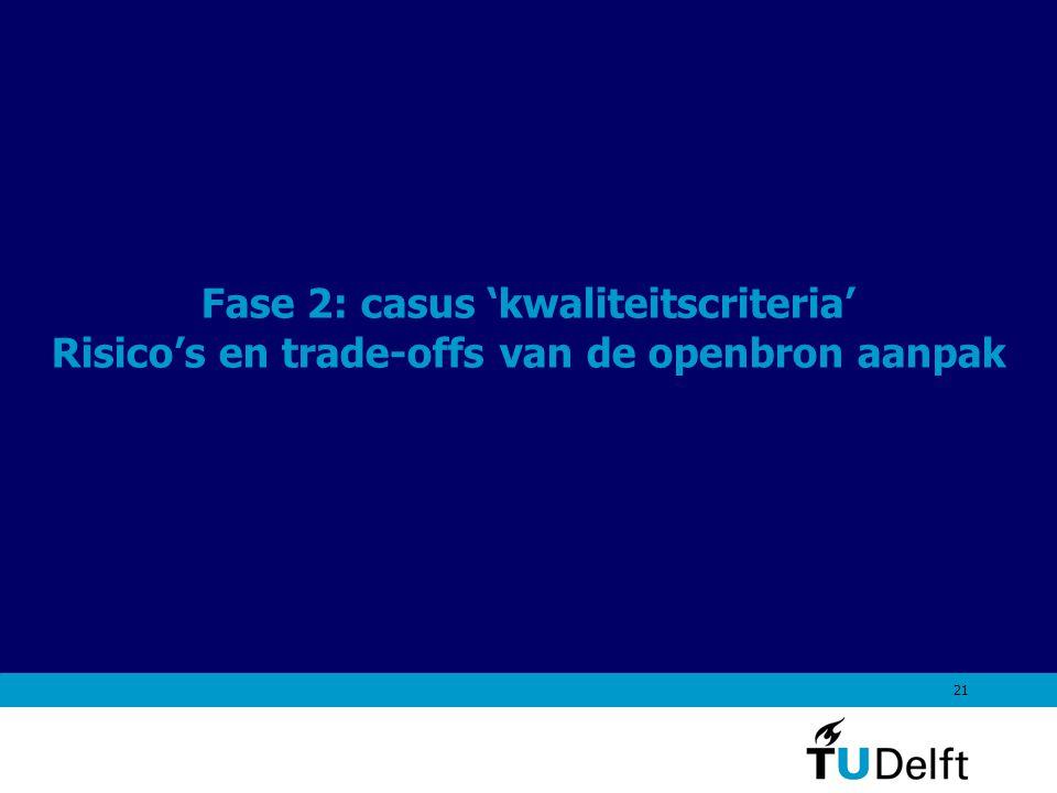 21 Fase 2: casus 'kwaliteitscriteria' Risico's en trade-offs van de openbron aanpak