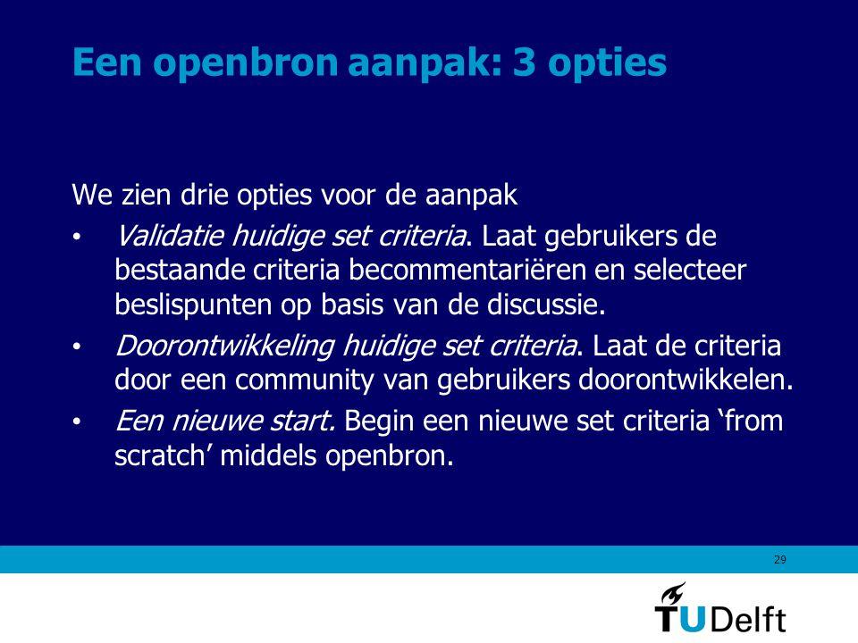29 Een openbron aanpak: 3 opties We zien drie opties voor de aanpak Validatie huidige set criteria.