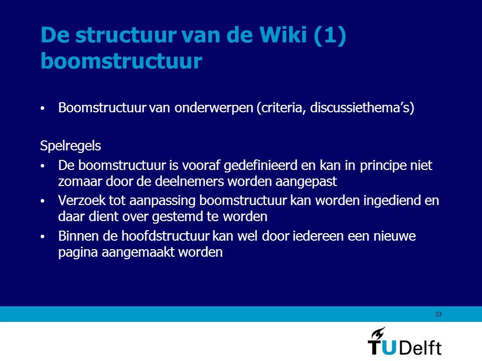 33 De structuur van de Wiki (1) boomstructuur Boomstructuur van onderwerpen (criteria, discussiethema's) Spelregels De boomstructuur is vooraf gedefinieerd en kan in principe niet zomaar door de deelnemers worden aangepast Verzoek tot aanpassing boomstructuur kan worden ingediend en daar dient over gestemd te worden Binnen de hoofdstructuur kan wel door iedereen een nieuwe pagina aangemaakt worden