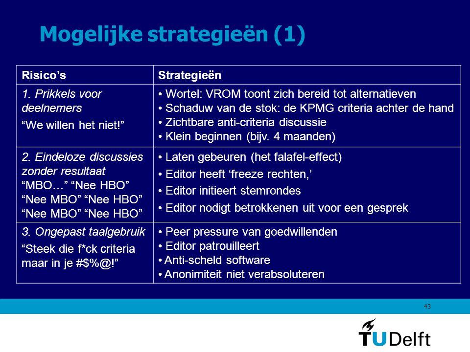 43 Mogelijke strategieën (1) Risico'sStrategieën 1.