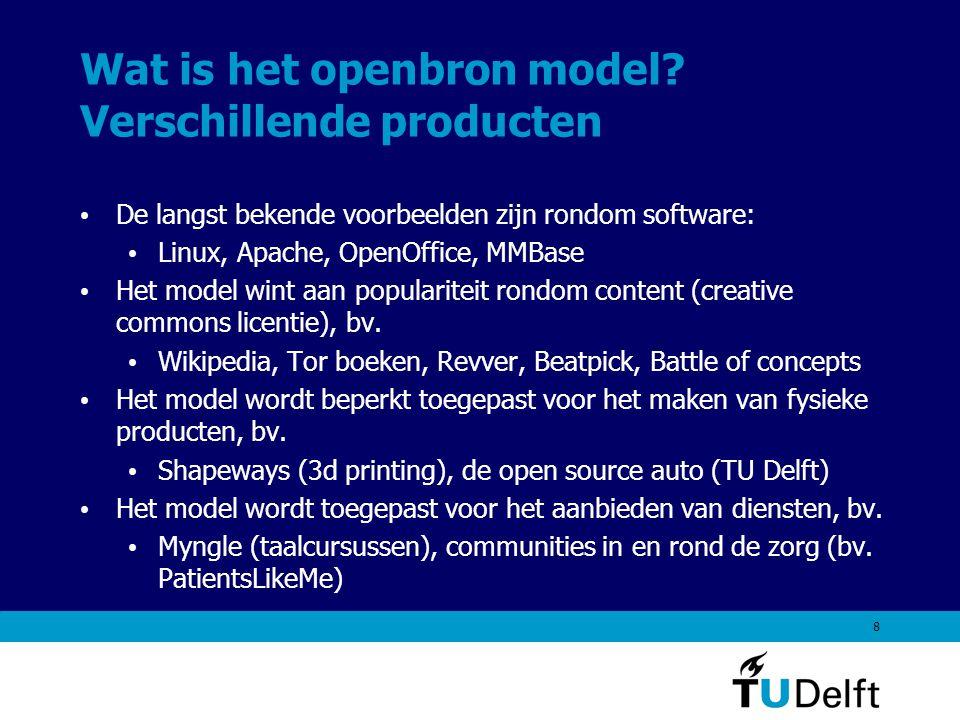 9 Het openbron model in dit onderzoek Voor VROM is met name de vierde dimensie van het openbron model relevant: het openbron model als ontwikkelmodel Bij VROM zal het openbron model worden ingezet voor het verder brengen en geaccepteerd krijgen van content.