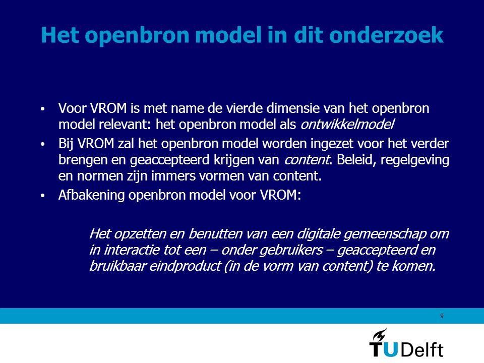 10 De ene openbron toepassing is de andere niet: oppassen voor te snelle conclusies Het open bron model wordt in veel omgevingen toegepast Veel aandacht gaat uit naar het succes van het openbron model voor de ontwikkeling van software.