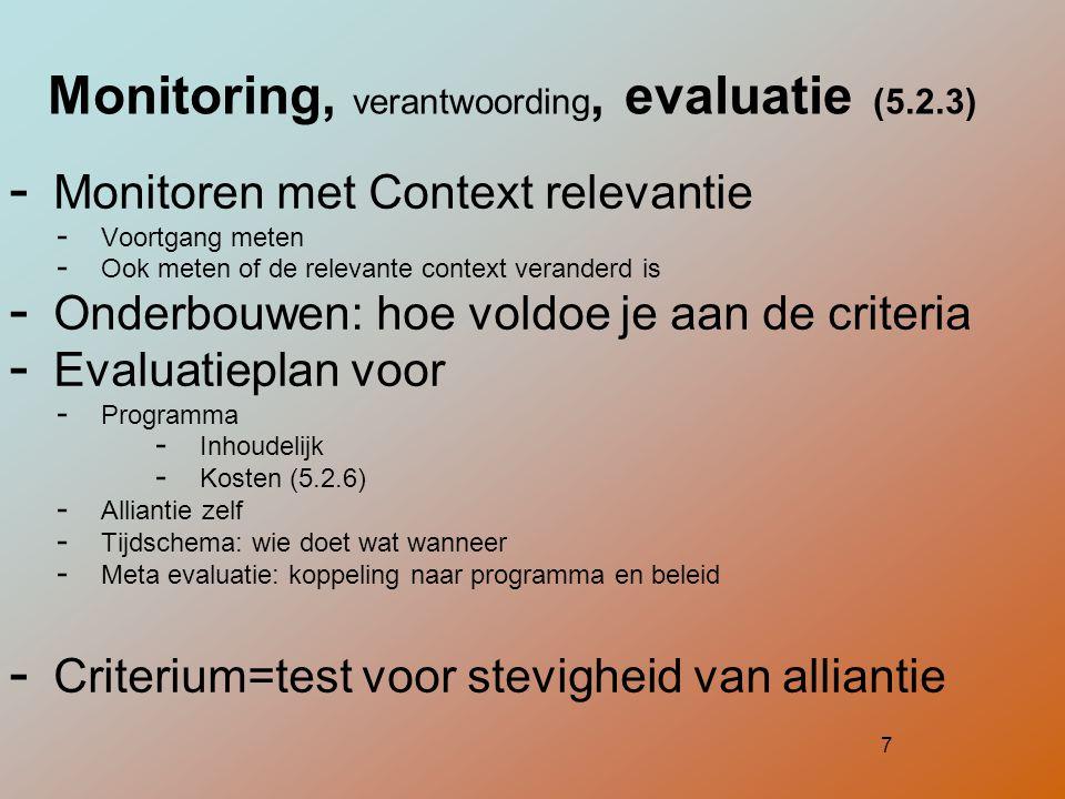 7 Monitoring, verantwoording, evaluatie (5.2.3)  Monitoren met Context relevantie  Voortgang meten  Ook meten of de relevante context veranderd is