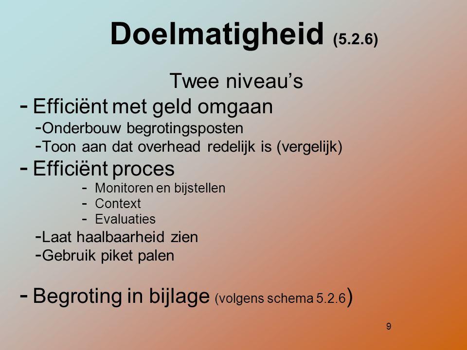 10 Duurzaamheid (5.2.7) - Versterking MMV - Exit strategie = meetbaar punt - Hoe zet lokale partner programma zelfstandig voort - Duurzaamheid in lijn met outcome (bijl.