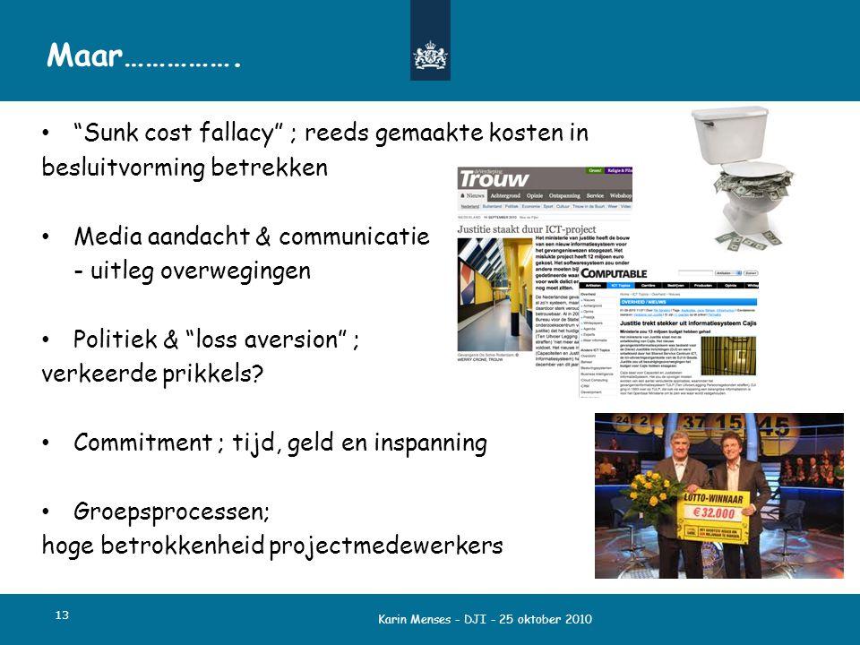 """Karin Menses - DJI - 25 oktober 2010 13 Maar……………. """"Sunk cost fallacy"""" ; reeds gemaakte kosten in besluitvorming betrekken Media aandacht & communicat"""