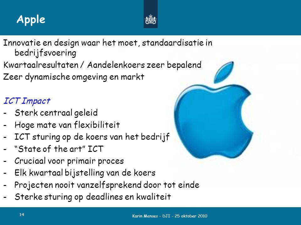Karin Menses - DJI - 25 oktober 2010 14 Apple Innovatie en design waar het moet, standaardisatie in bedrijfsvoering Kwartaalresultaten / Aandelenkoers