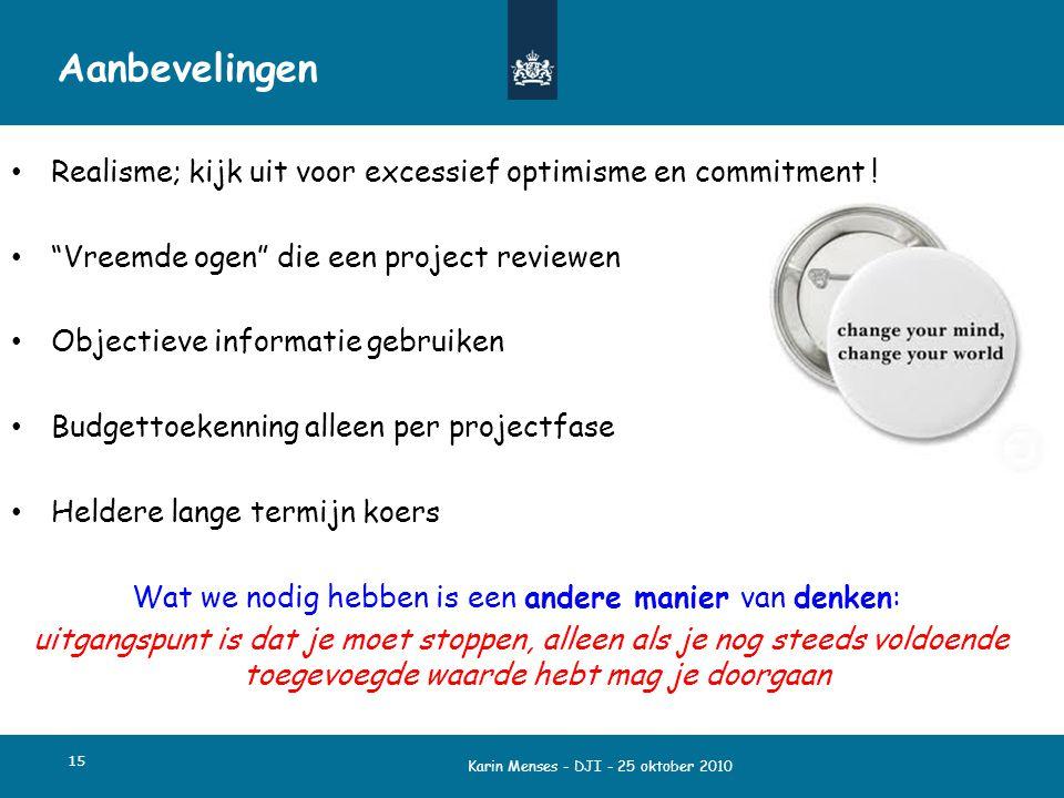 """Karin Menses - DJI - 25 oktober 2010 15 Aanbevelingen Realisme; kijk uit voor excessief optimisme en commitment ! """"Vreemde ogen"""" die een project revie"""
