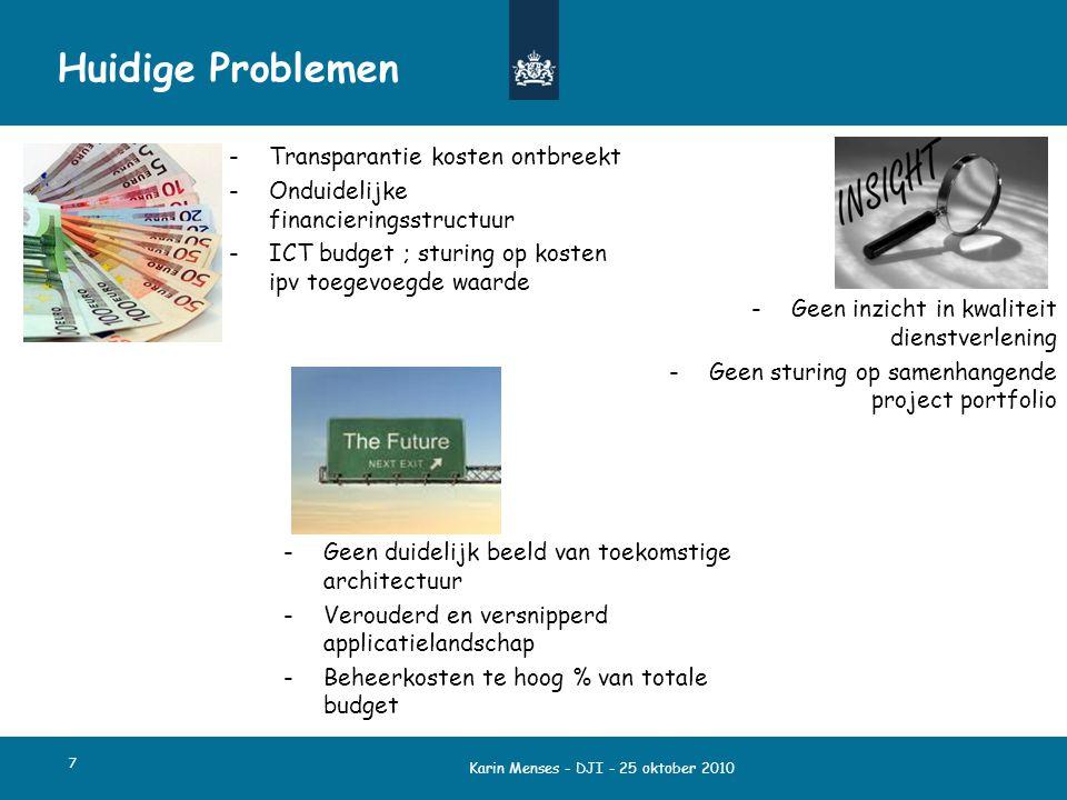 Karin Menses - DJI - 25 oktober 2010 7 Huidige Problemen -Transparantie kosten ontbreekt -Onduidelijke financieringsstructuur -ICT budget ; sturing op