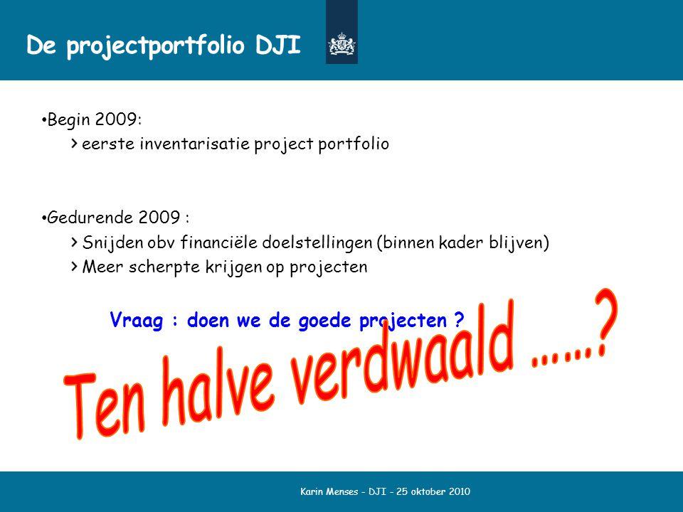Karin Menses - DJI - 25 oktober 2010 De projectportfolio DJI Begin 2009: eerste inventarisatie project portfolio Gedurende 2009 : Snijden obv financië