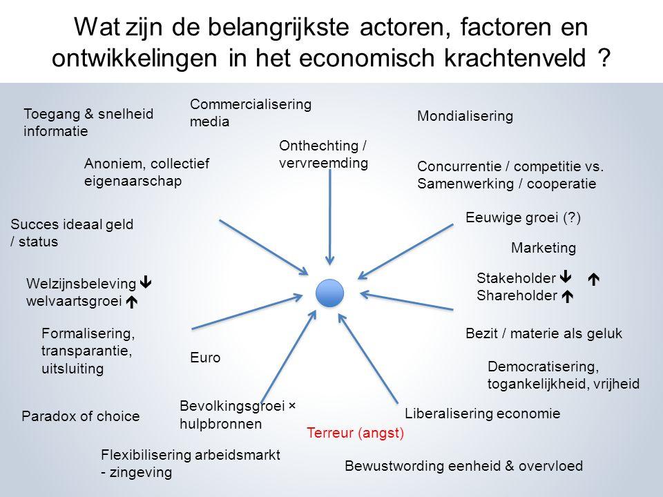 Wat zijn de belangrijkste actoren, factoren en ontwikkelingen in het economisch krachtenveld .