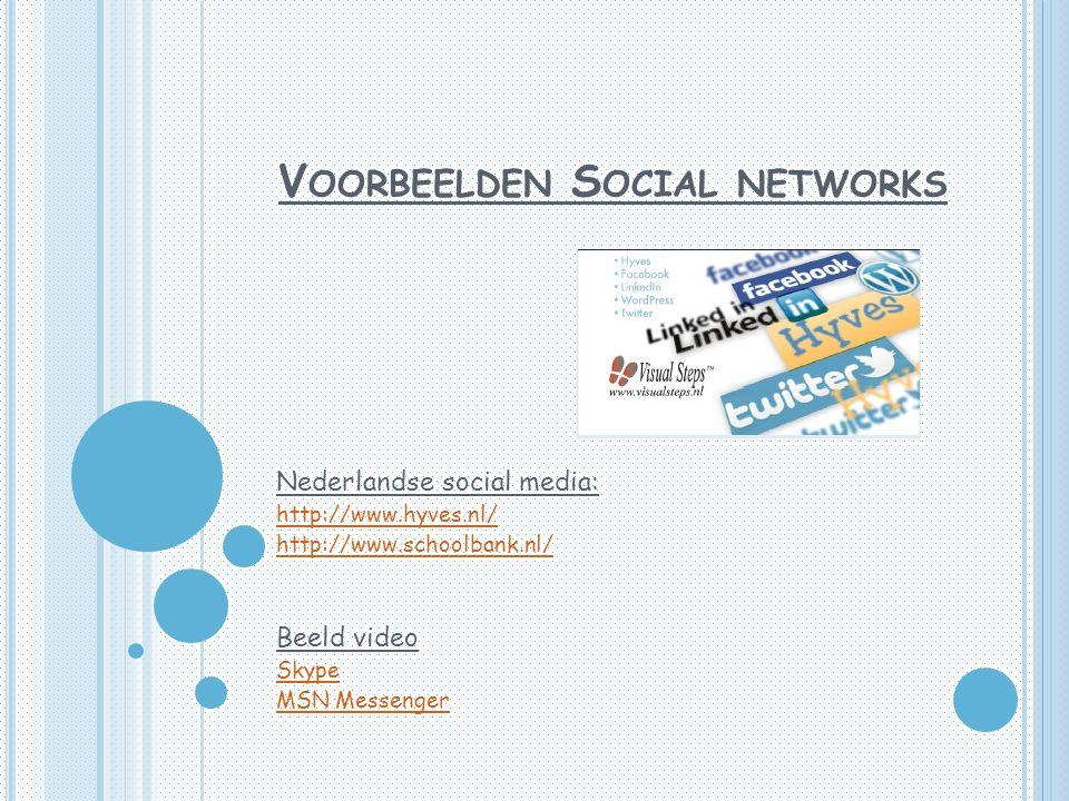 V OORBEELDEN S OCIAL NETWORKS Nederlandse social media: http://www.hyves.nl/ http://www.schoolbank.nl/ Beeld video Skype MSN Messenger