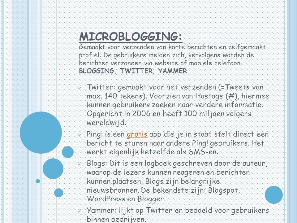 MICROBLOGGING: Gemaakt voor verzenden van korte berichten en zelfgemaakt profiel.