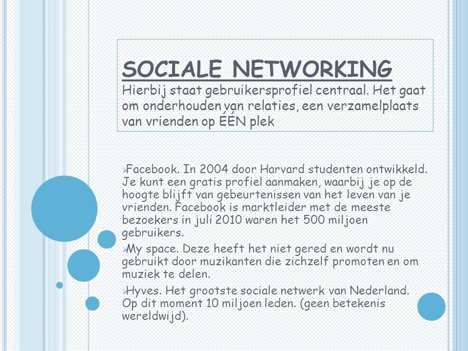 SOCIALE NETWORKING Hierbij staat gebruikersprofiel centraal.