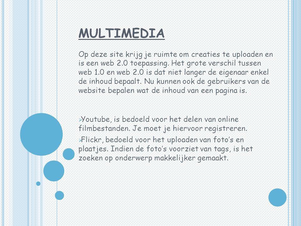 MULTIMEDIA Op deze site krijg je ruimte om creaties te uploaden en is een web 2.0 toepassing.