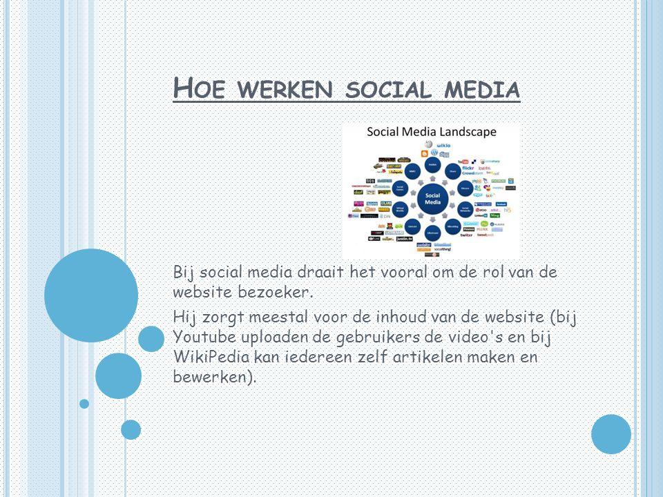 H OE WERKEN SOCIAL MEDIA Bij social media draait het vooral om de rol van de website bezoeker.