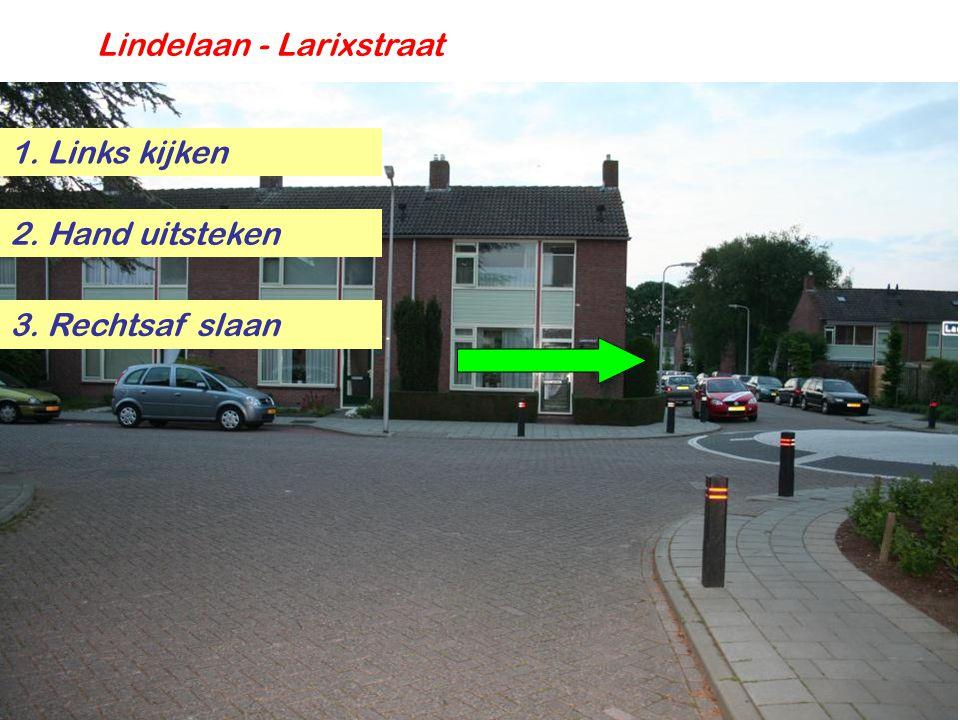 Lindelaan - Larixstraat 1. Links kijken 2. Hand uitsteken 3. Rechtsaf slaan