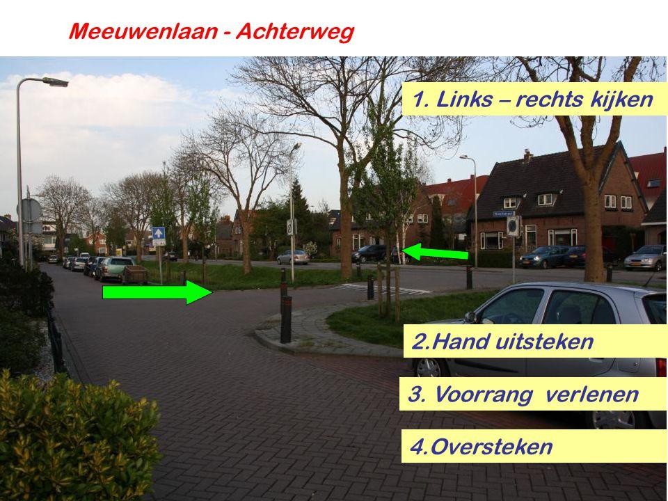 Meeuwenlaan - Achterweg 1. Links – rechts kijken 4.Oversteken 3. Voorrang verlenen 2.Hand uitsteken