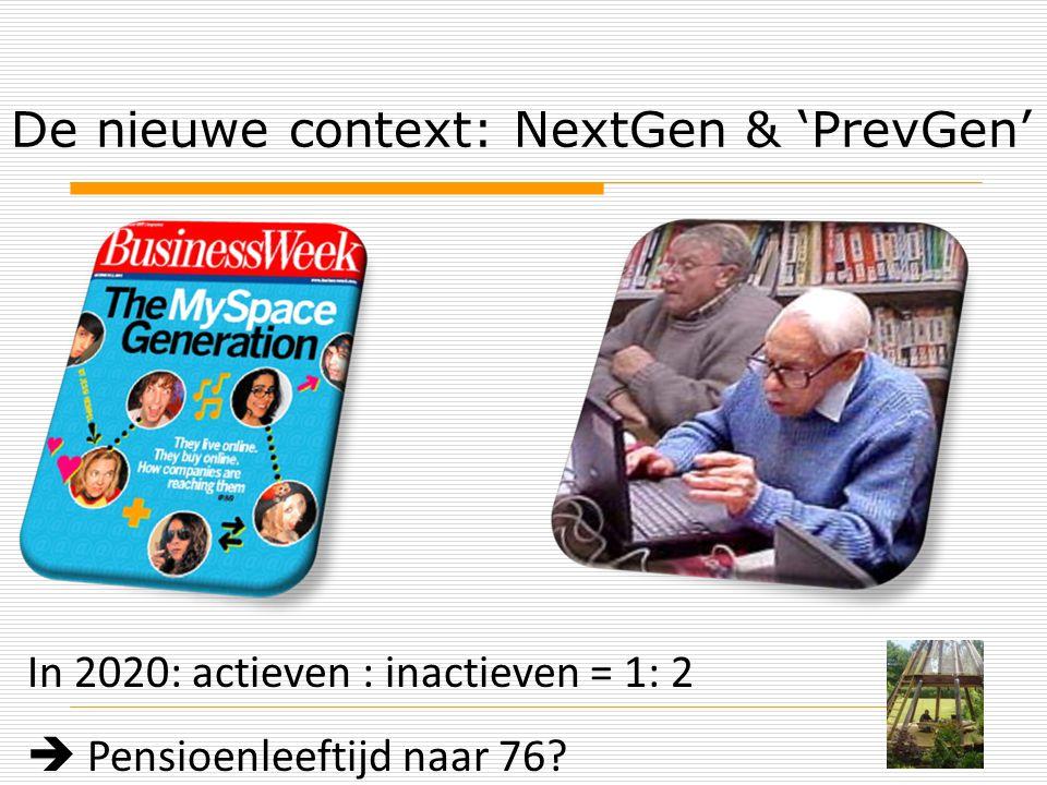 De nieuwe context: NextGen & 'PrevGen' In 2020: actieven : inactieven = 1: 2  Pensioenleeftijd naar 76