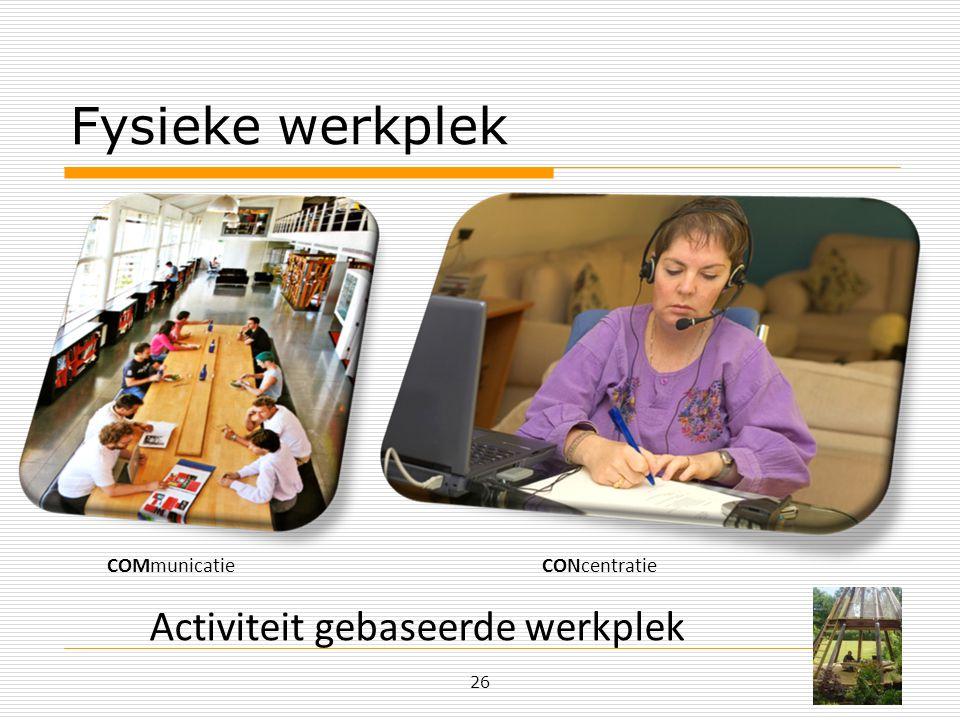 Fysieke werkplek 26 Activiteit gebaseerde werkplek COMmunicatieCONcentratie