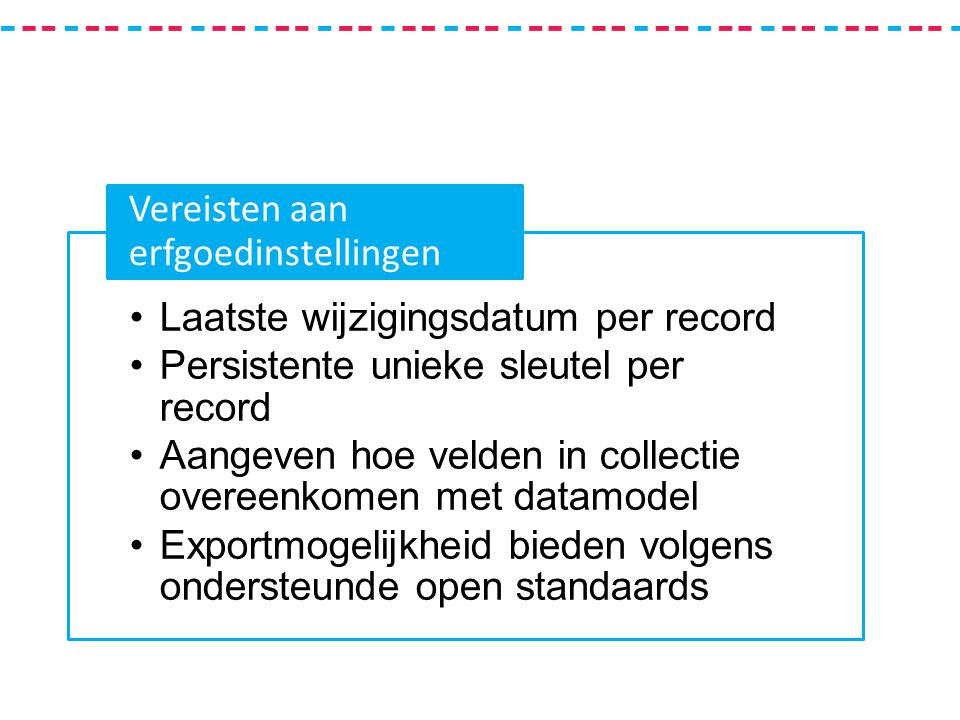 Laatste wijzigingsdatum per record Persistente unieke sleutel per record Aangeven hoe velden in collectie overeenkomen met datamodel Exportmogelijkheid bieden volgens ondersteunde open standaards Vereisten aan erfgoedinstellingen