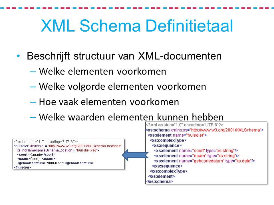XML Schema Definitietaal Beschrijft structuur van XML-documenten – Welke elementen voorkomen – Welke volgorde elementen voorkomen – Hoe vaak elementen voorkomen – Welke waarden elementen kunnen hebben