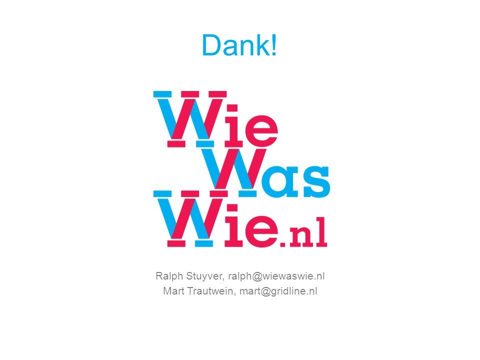 Dank! Ralph Stuyver, ralph@wiewaswie.nl Mart Trautwein, mart@gridline.nl