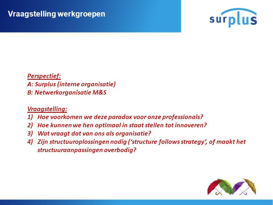 Vraagstelling werkgroepen Perspectief: A: Surplus (interne organisatie) B: Netwerkorganisatie M&S Vraagstelling: 1)Hoe voorkomen we deze paradox voor onze professionals.