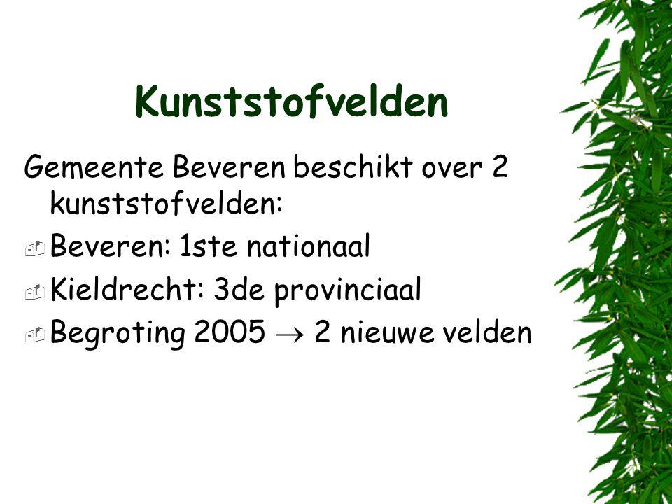 Kunststofvelden Gemeente Beveren beschikt over 2 kunststofvelden:  Beveren: 1ste nationaal  Kieldrecht: 3de provinciaal  Begroting 2005  2 nieuwe