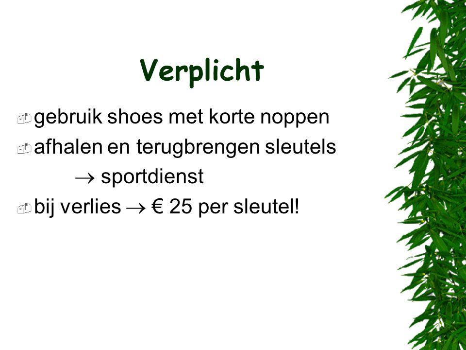 Verplicht  gebruik shoes met korte noppen  afhalen en terugbrengen sleutels  sportdienst  bij verlies  € 25 per sleutel!