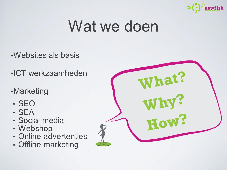 Wat we doen Websites als basis ICT werkzaamheden Marketing SEO SEA Social media Webshop Online advertenties Offline marketing
