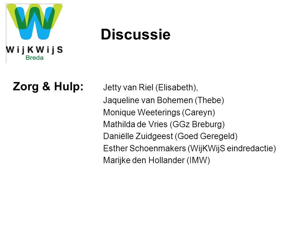 Discussie Wonen: Tanja Appels (Singelveste AlleeWonen) Riet van Gils (WonenBreburg) Nanny Gersen (NSCAW) Ingrid Boschman (Elisabeth) Trudy Korsse (WijKWijS Haagse Beemden) Nina Majoor (WijKWijS Westerpark/Tuinzigt) Jan van Oosterhout (Koers, Hoge Vucht)