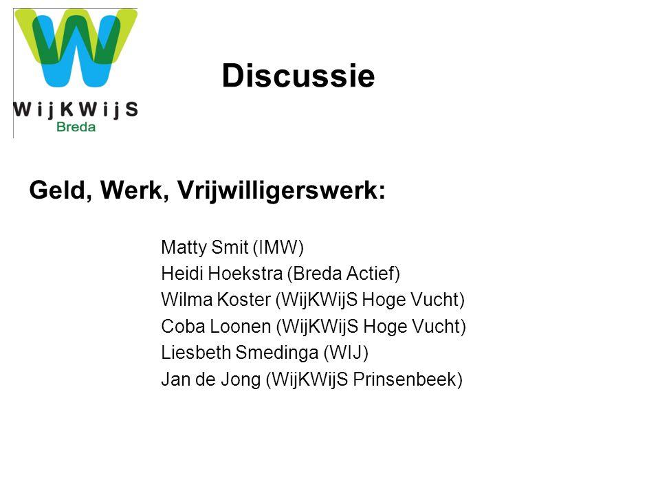 Discussie Cursussen, Ontspannen & Bewegen, Jong & Actief: Ron Verlind (Surplus Welzijn) Lianne Knobel (Bibliotheek Breda) Frank van Bers (MEE) Nina Hardonk (WijKWijS Haagse Beemden) Heidi Marx (WijKWijS Ulvenhout) Tibisai Coffie (WijKWijS) Jan Verstraeten (WijKWijS Tuinzigt/Westerpark)