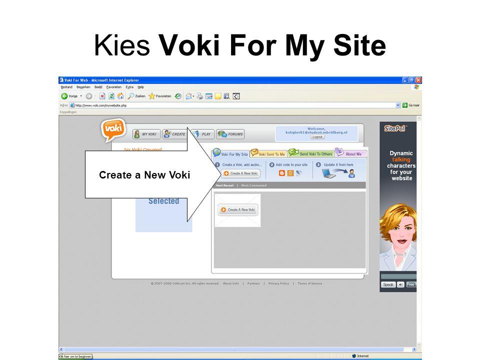 Kies Voki For My Site Create a New Voki