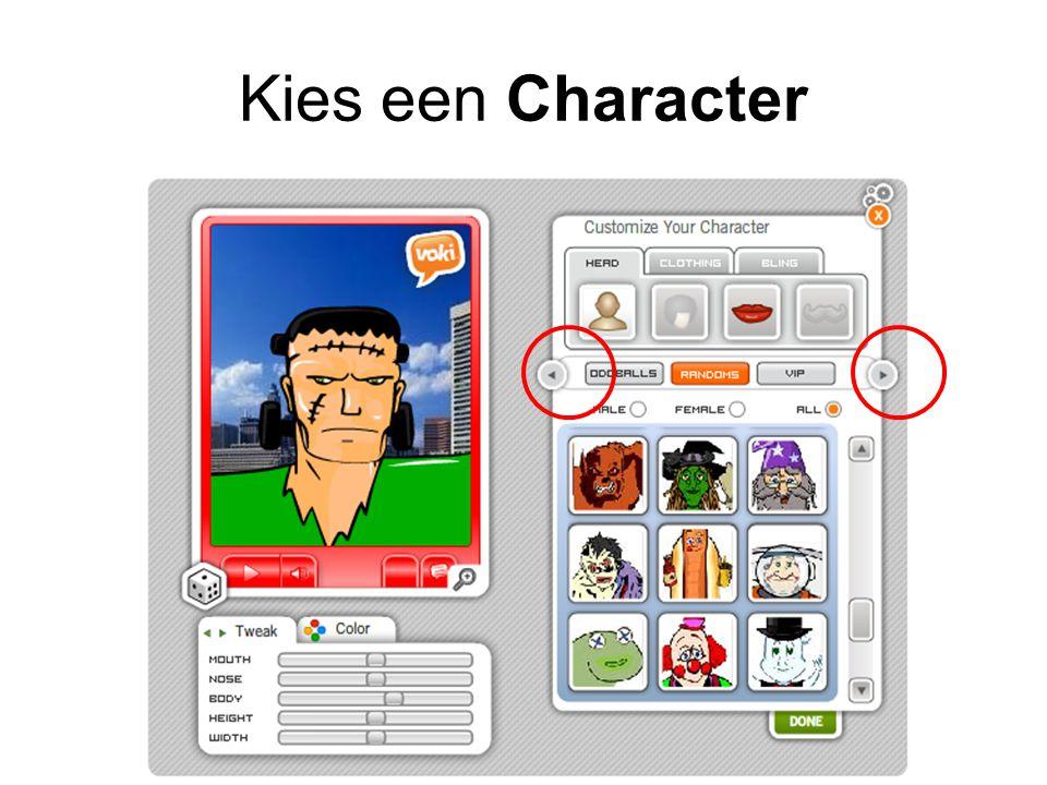 Kies een Character