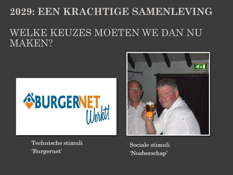 Sociale stimuli 'Noaberschap' Technische stimuli 'Burgernet' 2029: EEN KRACHTIGE SAMENLEVING WELKE KEUZES MOETEN WE DAN NU MAKEN?