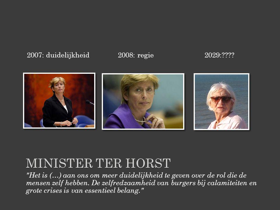 MINISTER TER HORST Het is (…) aan ons om meer duidelijkheid te geven over de rol die de mensen zelf hebben.