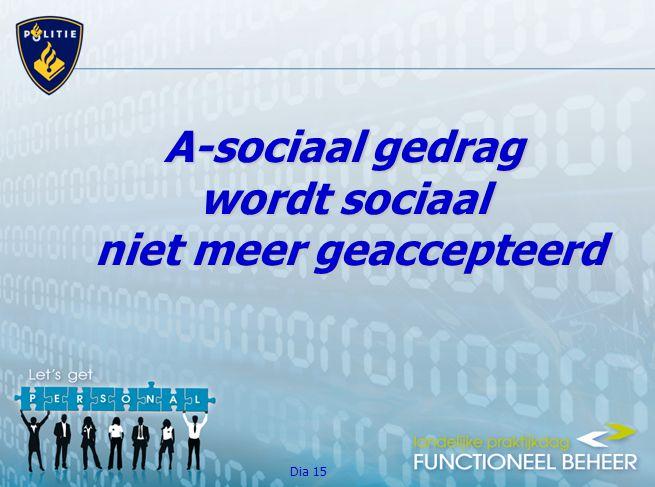 Dia 15 A-sociaal gedrag wordt sociaal niet meer geaccepteerd