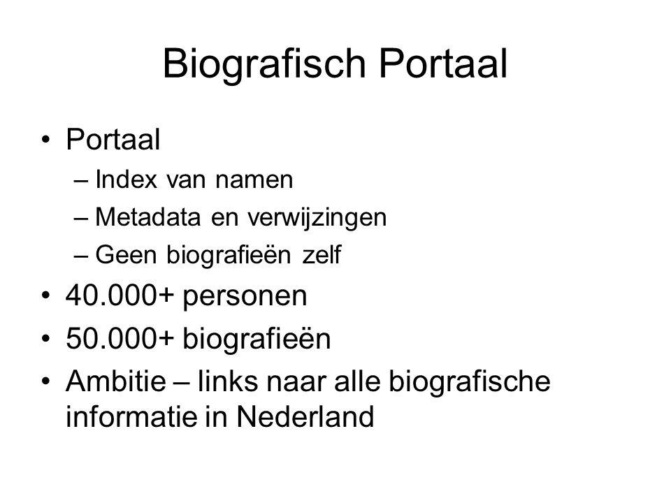Biografisch Portaal Portaal –Index van namen –Metadata en verwijzingen –Geen biografieën zelf 40.000+ personen 50.000+ biografieën Ambitie – links naar alle biografische informatie in Nederland