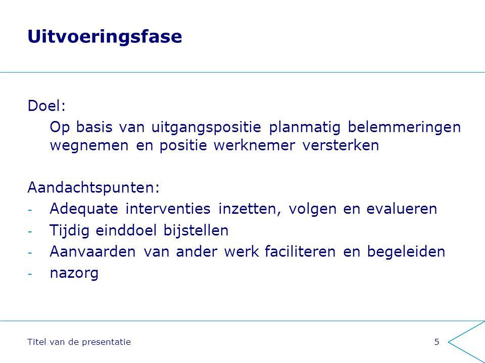 Titel van de presentatie5 Uitvoeringsfase Doel: Op basis van uitgangspositie planmatig belemmeringen wegnemen en positie werknemer versterken Aandacht