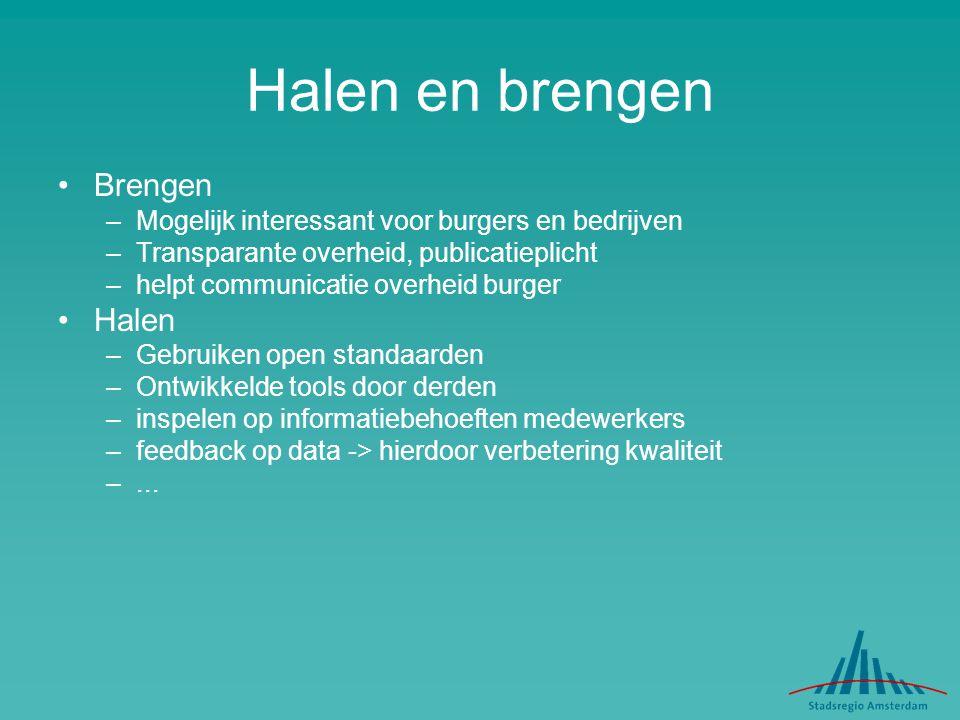 Halen en brengen Brengen –Mogelijk interessant voor burgers en bedrijven –Transparante overheid, publicatieplicht –helpt communicatie overheid burger