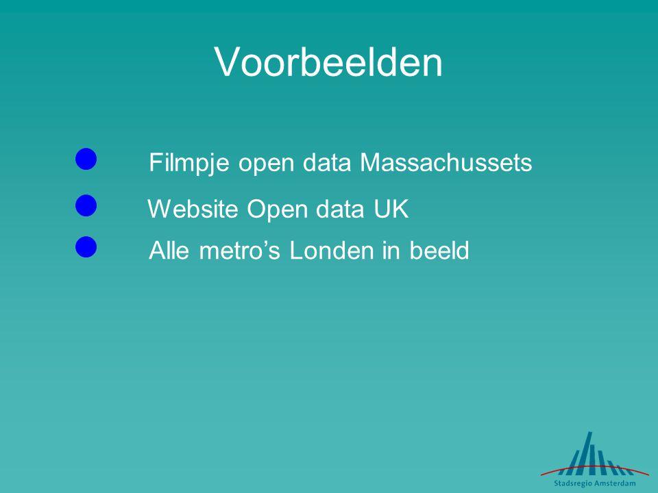 Voorbeelden Filmpje open data Massachussets Website Open data UK Alle metro's Londen in beeld
