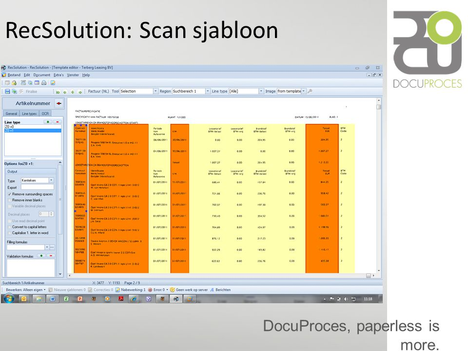 DocuProces, paperless is more. RecSolution: Scan sjabloon